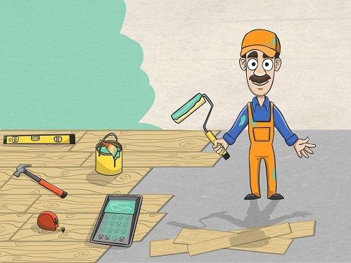 Рисунок рабочего делающего ремонт квартиры